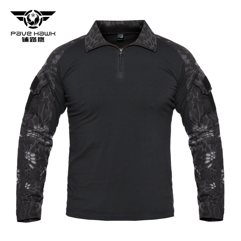 Tactical T Shirts Men Military Army rip stop SWAT Combat Shirts Python Camouflage Male T Shirts Long Sleeve Air soft Hunt Shirt in Hiking T shirts from Sports Entertainment