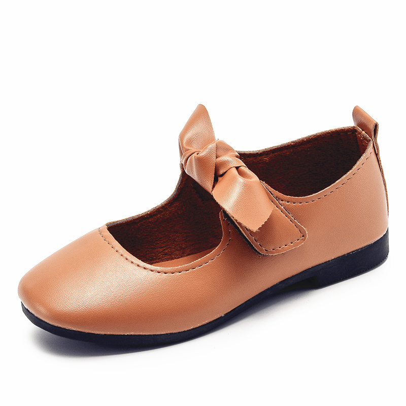 2018 spring and autumn models new bow girls leather shoes princess dance single shoes childrens bean shoes kids student shoes