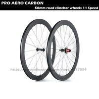 Forma 50mm del camino del remachador ruedas Aero 11 Velocidad, ruedas de bicicleta del carbón 700C ruedas de bicicleta para barato