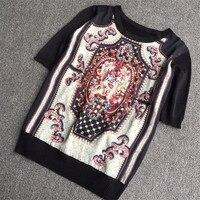 Designer Luxury Brand T Shirt for Women Vintage Baroque Printed Silk Stitching Thin Knitted Shirts Black