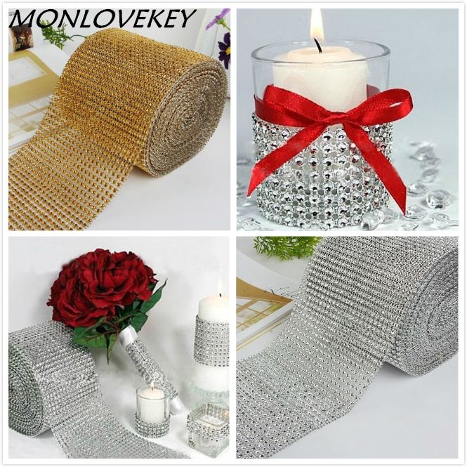 Matrimonio Decor Oro Argento Diamond Mesh 1 yards Decorazioni per feste Trim Wrap Roll Sparkle Rhinestone Crystal Bling Cake Ribbon