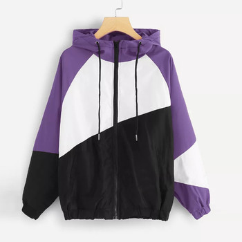 Outerwear & Coats Jackets Long Sleeve Patchwork Thin Skinsuits Hooded Zipper Casual Sport coats and
