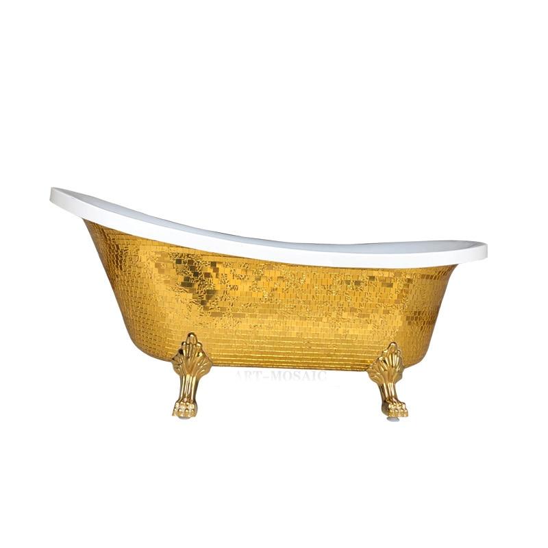 Freestanding Bathtub with Gold Mosaic Pattern