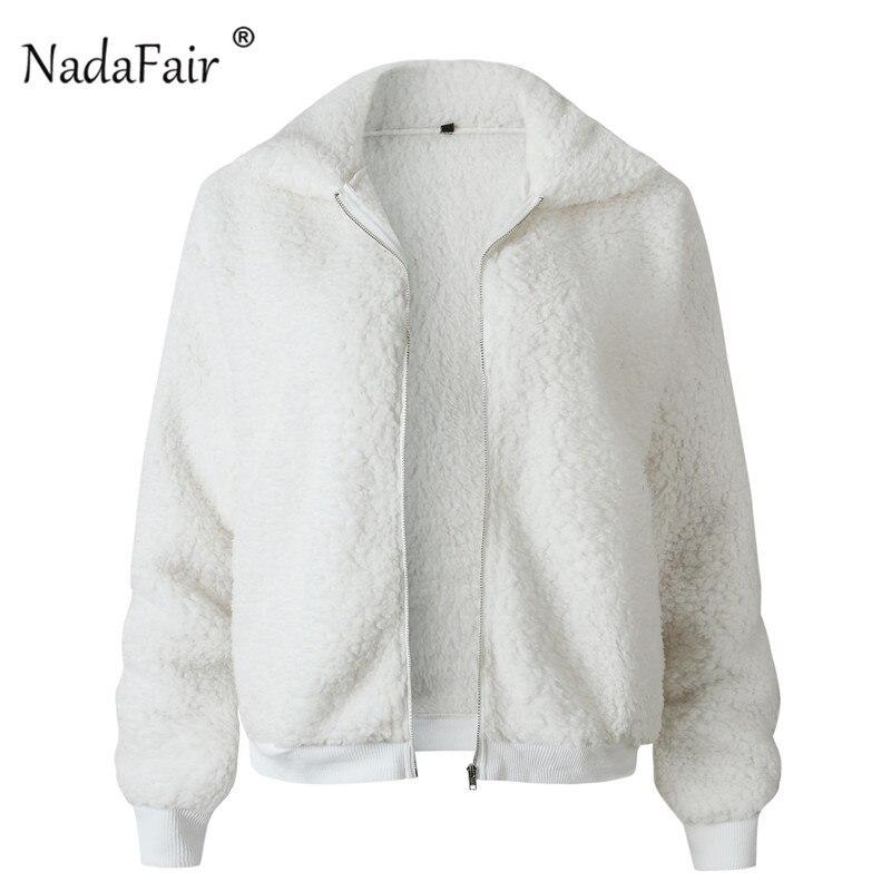 Nadafair Faux Fur Coat Women Autumn Winter Fluffy Teddy Jacket Coat Plus Size Long Sleeve Outerwear Turn Down Short Coat Female 18