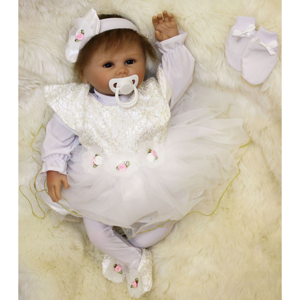 45-50CM Silicone Doll Reborn Baby girl realistic Handmade Cloth Body Reborn Babies Doll Toys Baby Growth Partners Best kids Gift