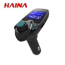 цена на Haina Bluetooth Wireless Car Mp3 Player Handsfree Car Kit FM Transmitter A2DP 5V 2.1A USB Charger LED Display Car FM Modulat T11