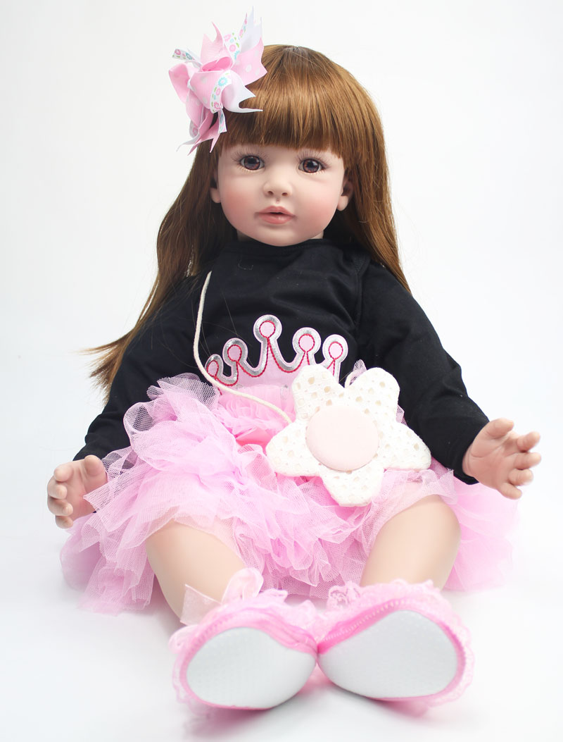 60cm Silicone Reborn Baby Doll Toys 24 inch Vinyl Princess Toddler Babies Dolls Girls Birthday Gift Present Child Play House Toy 50cm vinyl silicone toddler doll toy play house dolls birthday gift for girls kids child cute princess reborn girl baby dolls