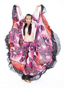 Image 4 - Falda gitana con estampado de flores de 720 grados, ropa con diseño Tribal para danza del vientre, prendas Flamenco, envío gratis