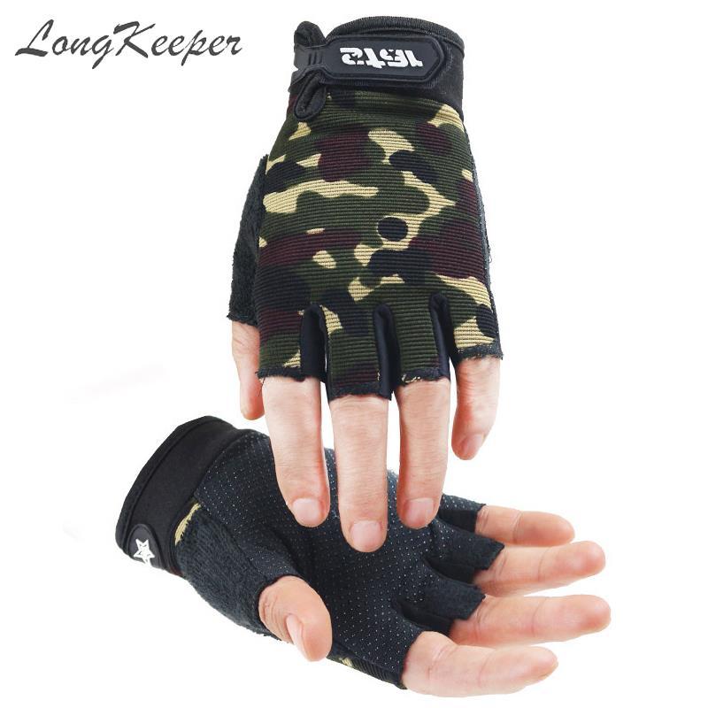 LongKeeper Men Women Fingerless Gloves Non-slip Sport Mittens Camo Gloves For Kids Outdoor Fitness Half Finger Gloves Luva S-XXL