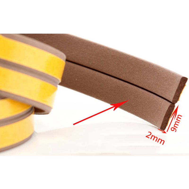 5 10M Door Window Seals Ruber Soundproof Strips Steel Window Cabinets Wooden door seams anti collision I Type 9mm*2mm|Sealing Strips| |  - title=