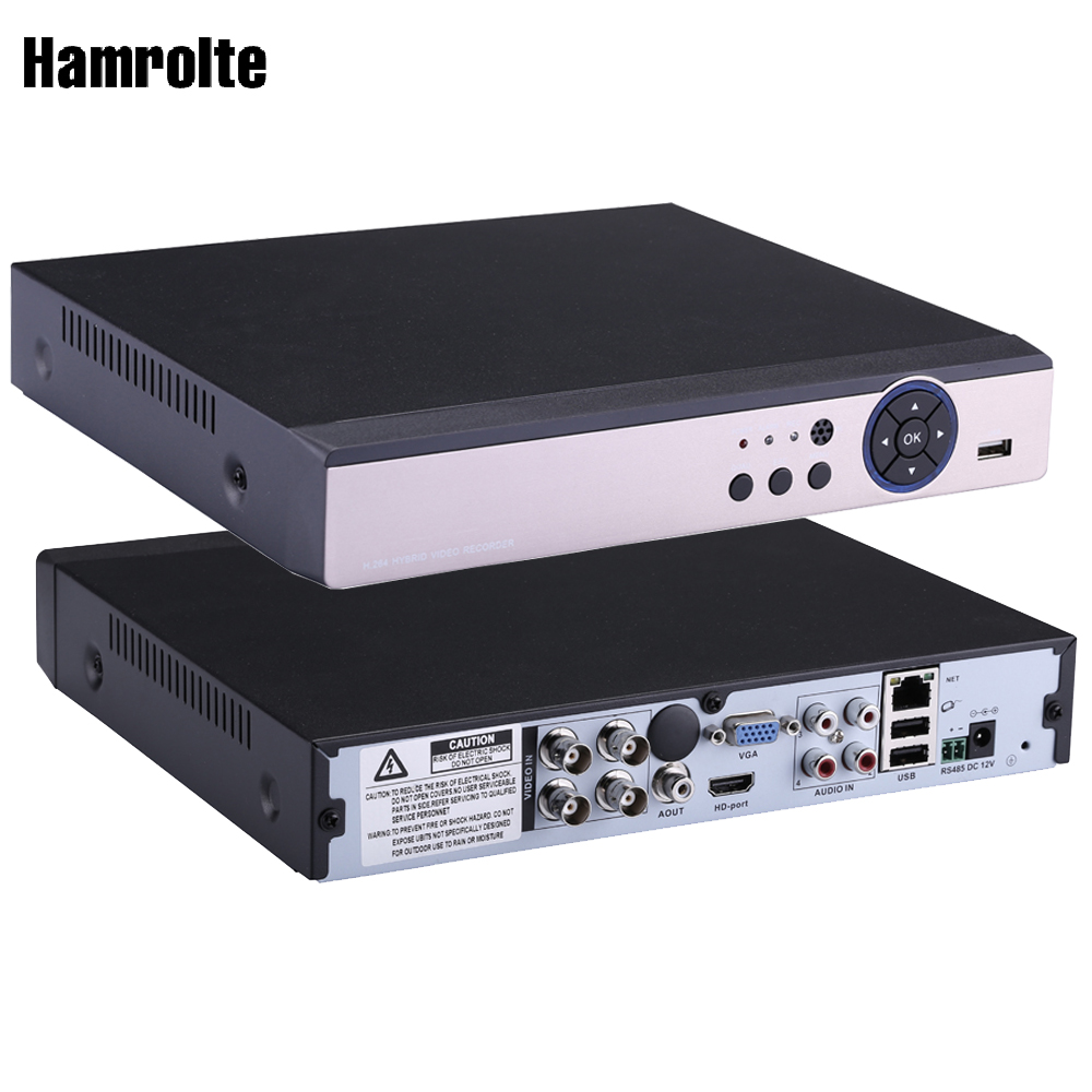 Hamrolte CCTV DVR 4CH 4MP AHD TVI CVI Analog 5IN1 Hybrid Video Recorder For 4MP AHD Camera Support Motion Detection IE Cloud P2P