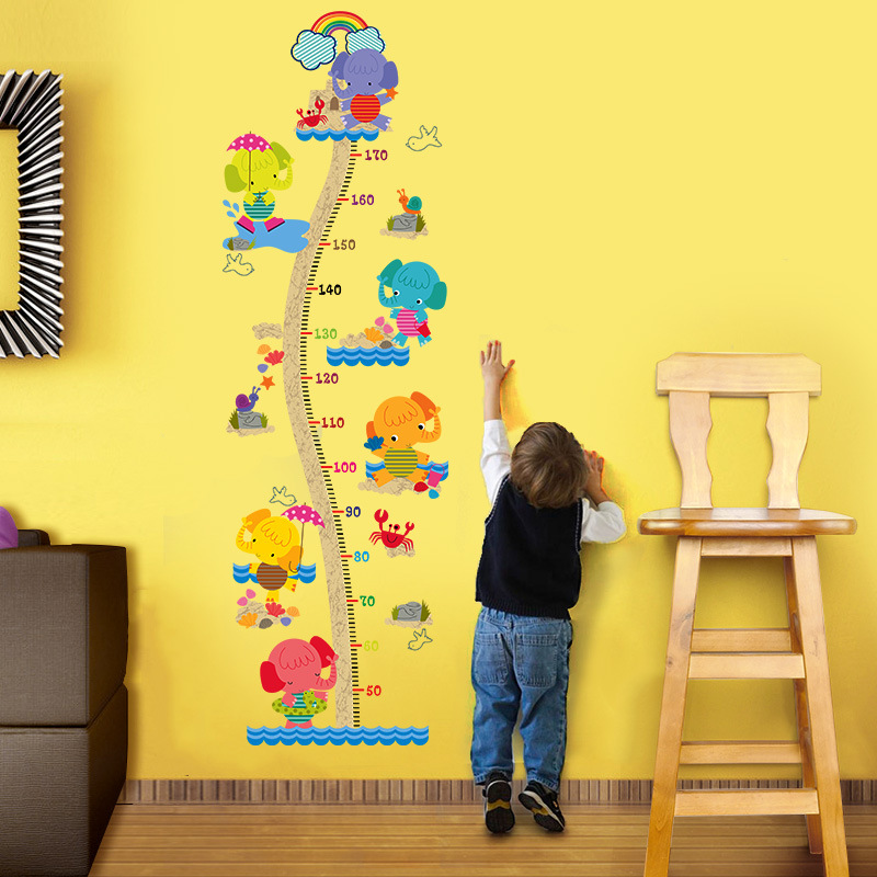 Us 5 22 8 Off Giraffe Measure Height Growth Wall Stickers Art Wallpaper Diy Decoration For Child Baby Kids Wall Bathroom Living Room Decor In Wall
