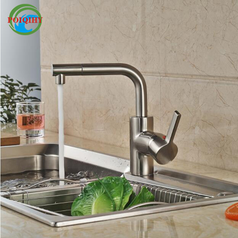 Brushed Nickel Kitchen Mixer Faucet Single Lever Deck Mount Kitchen Good Quality Hot Cold Water Taps deck mounted nickel brushed kitchen sink faucet 75cm height bathroom kitchen hot and cold water mixer taps