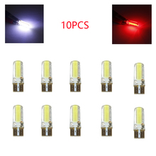 10Pcs Car Clearance Lights T10 W5W 194 COB 3W Silicone Gel Licence Lamp COB Reading Lights  License Plate Lights  Universal yumseen 10pcs car styling t10 w5w cob led 2w pure white clearance light marker lamps license plate lights new arrivval
