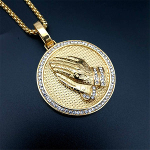 Image 4 - Hip Hop Iced Out Praying Hands Pendant Necklaces For Women And Men Gold Color Stainless Steel Round Jewelry Dropshipping