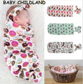 baby Swaddle Blanket headwrap Hospital Swaddled Set Floral baby blanket newborn baby photography props blanket sleepping bag
