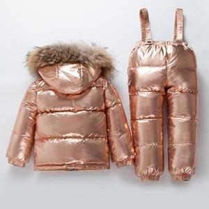 Image 2 - Rosja nowe zimowe zestawy ubrań dla dzieci chłopcy i dziewczęta biały puchowy kombinezon narciarski gruby 30