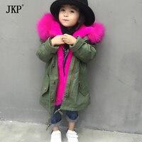 Fur Parka Winter Children Outerwear Coats Rex Rabbit Fur Lining Warm Boys Girls Parkas Fox Fur