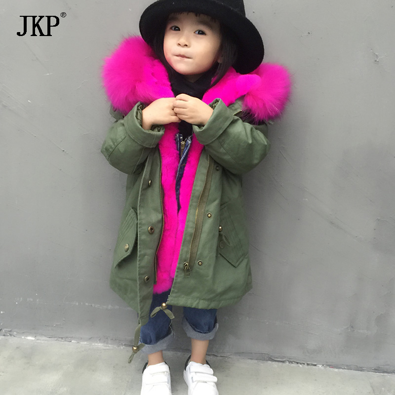 Fur parka winter children outerwear&coats rex rabbit fur lining warm boys girls parkas raccoon fur collar kids jacket цена