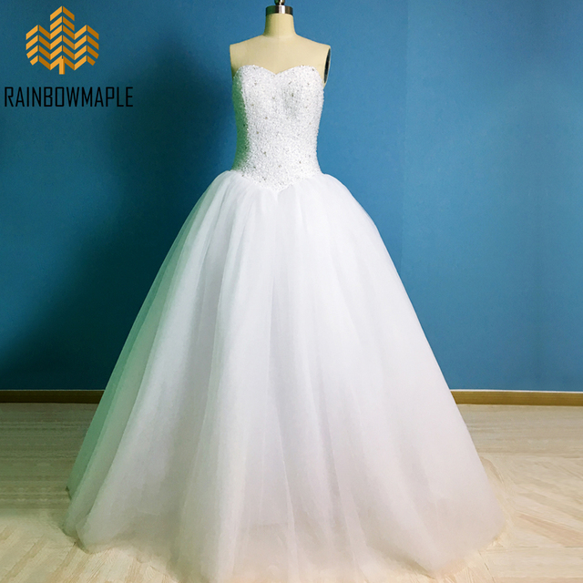 Lovely Sweetheart White Ball Gown Wedding Dresses Luxury Rhinestone ...