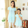 Mother Daughter Outfits Clothes Hot Sale New Summer Girls Short Sleeved Lace Yarn Dress Dresses Mother Princess Children Skirt