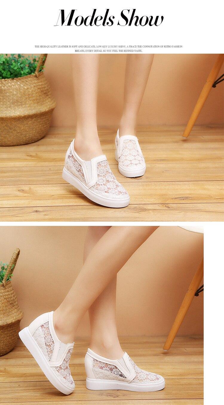SWYIVY Hook Loop Breathale Women Walking Shoes Platform 5cm Inne Height 2cm  2018 Summer Sequins Lace-up Female Hollow Shoes US 37.5   pair 51e5b861c3c7