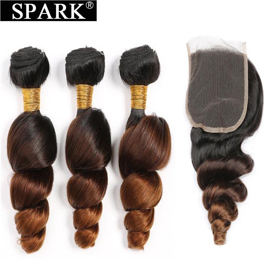 ניצוץ Ombre ברזילאי Loose גל חבילות עם סגירת משלוח חלק רמי שיער הארכת 1B/4/30 שיער טבעי צרור עם סגירת תחרה