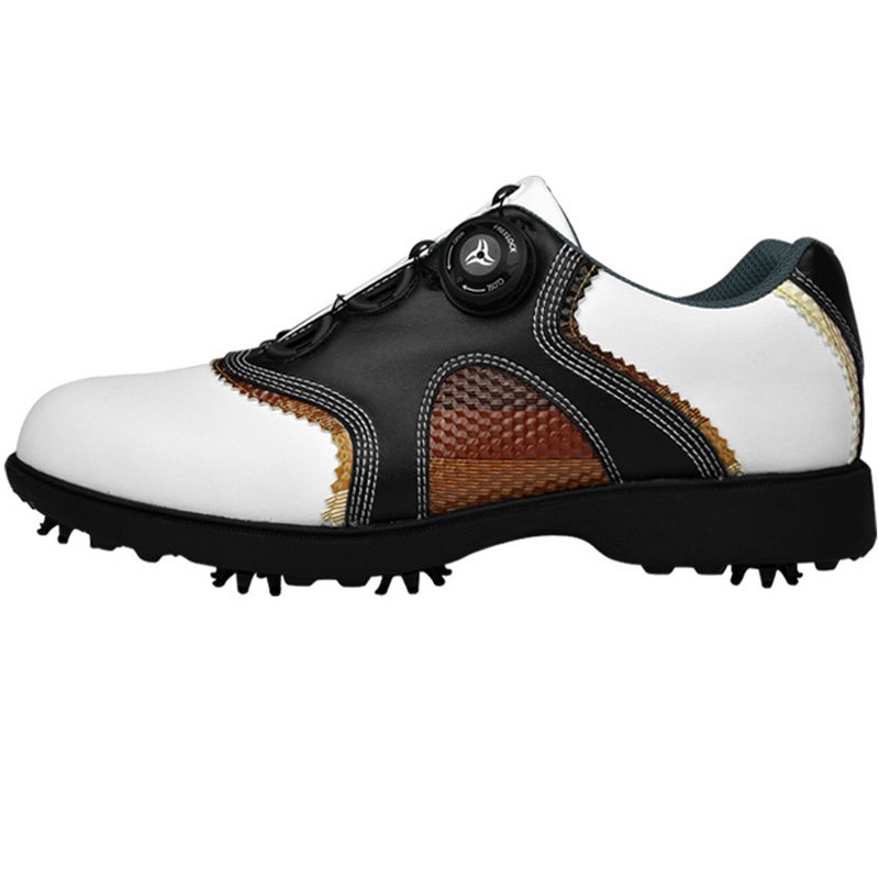 2016 patent Golf Shoes Mens Leather shoes laces send activities nail automatic revolving spikes golf shoes men waterproof microfiber leather breathable waterproof patent men sport shoes activities nail anti skid good grip resistant golf shoes