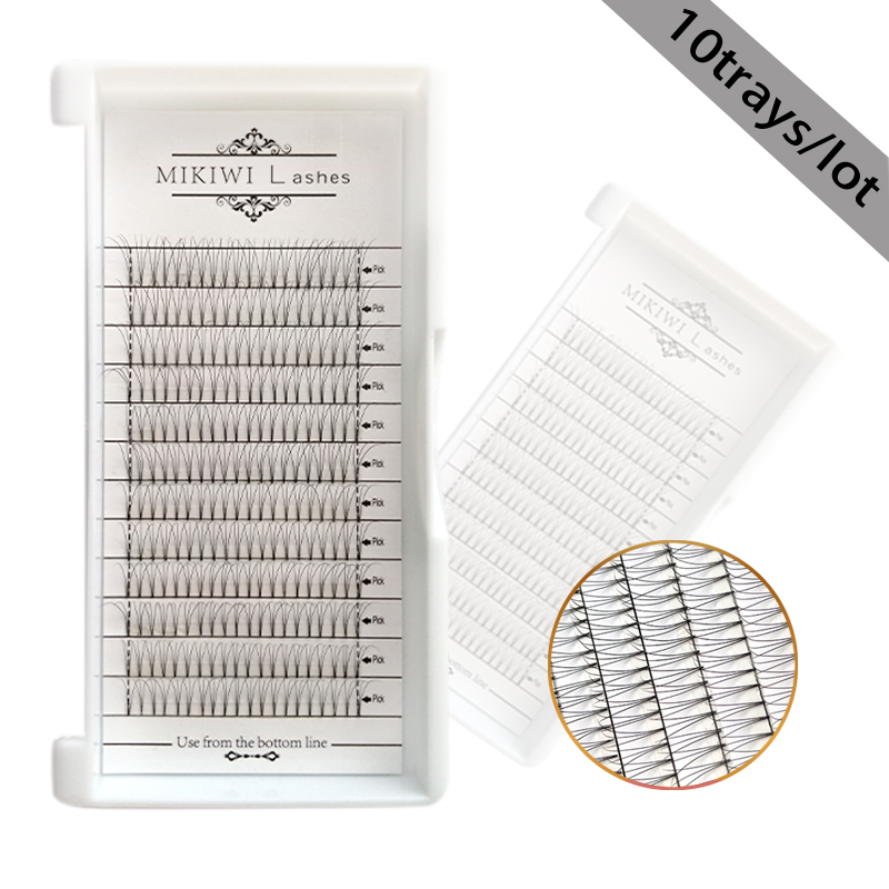 MIKIWI 12lines 10trays 3d Short Premade fans Russian Volume Eyelash Extensions Natural Pre Made Lash Extension lashes eyelashes