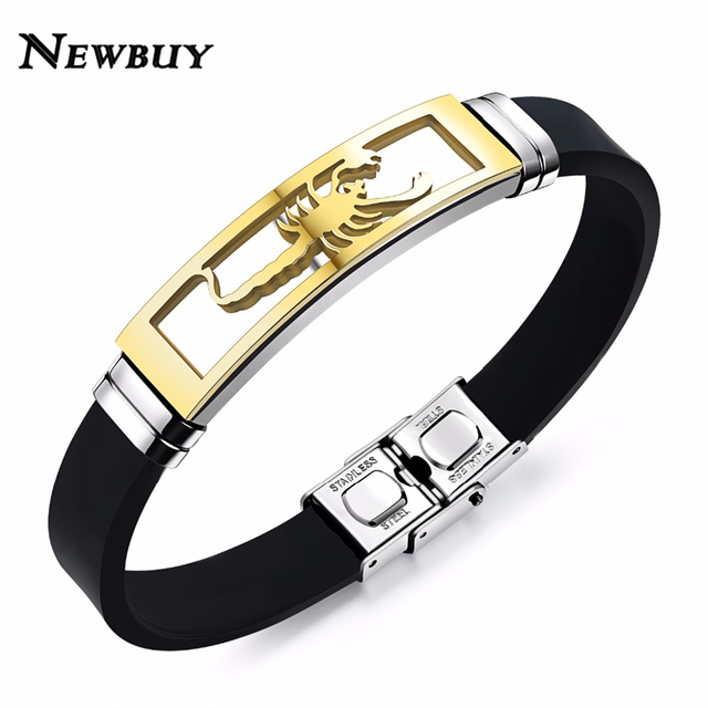 New Fashion Men Silicone Stainless Steel Bracelets Clic Design Scorpio Charm Cool Male Jewelry