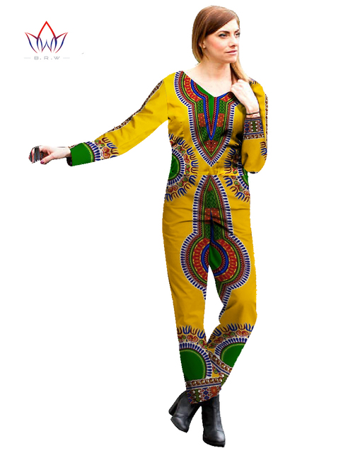 African Clothes for Women Bodysuit Rompers Overalls African Bazin Rich Print Dashiki Pants Plus Size African Clothing BRW WY544