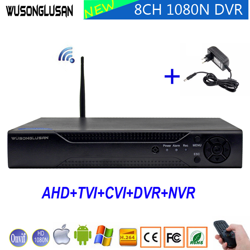 8 canales CCTV Digital Video Recorder 8CH 1080N 960 P 720 P 5 en 1 Wifi híbrido Coaxial DVR Onvif Cloud P2P NVR CVI TVi AHD IP Cam