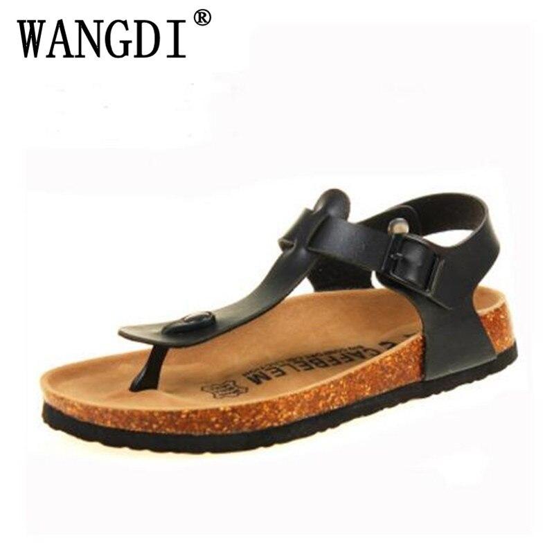 35-43 Fashion Cork Slipper Sandals 2017 New Summer Men Patchwork Beach Slides Double Buckle Flip Flops Shoe white Black red