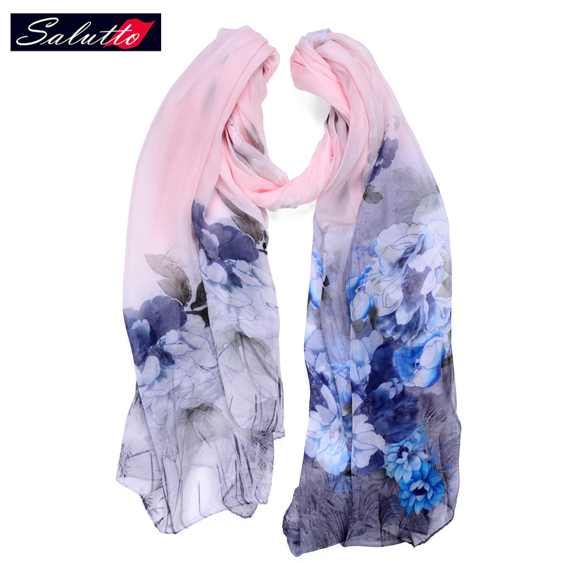 SALUTTO Brand Luxury 100% Silk Scarf From India High Quality Women Chinese Landscape Painting Cape Beach Towel Echarpe 170*105