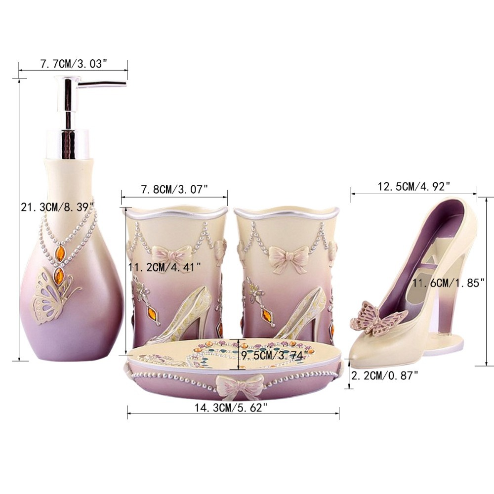 Novelty High Heels 5pcs Bathroom Accessories Set Modern Lady Sets ...