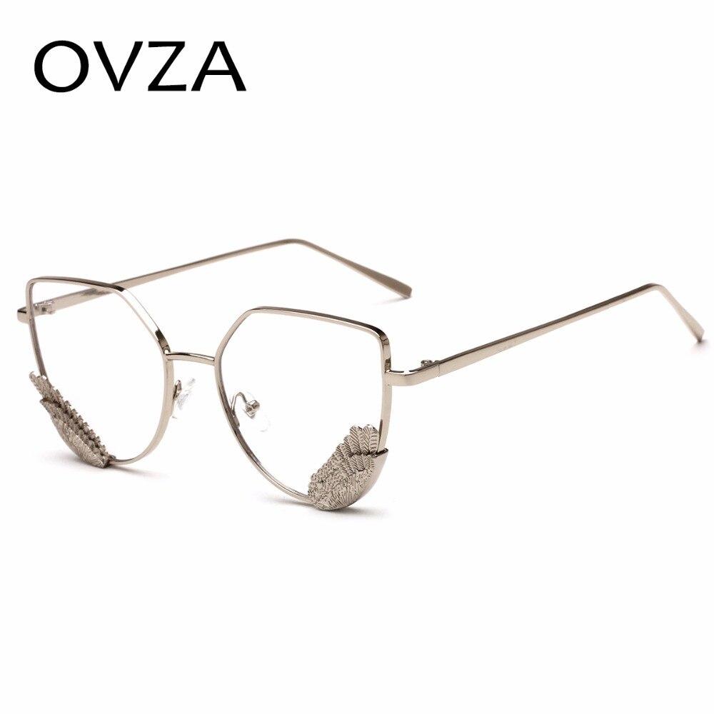 7f2bdf1968 OVZA Brand Designer Fashion Wings Optical Frame Women Metal Glasses Frames  Retro Cat Eye Eyeglasses Transparent Lens S2054-in Eyewear Frames from  Apparel ...