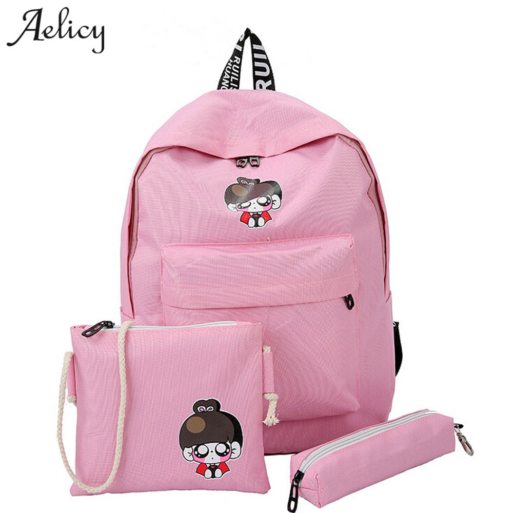 Aelicy 3pcs canvas cartoon women backpack set 2019 new design women laptop backpacks large capacity solid mochila escolar meninaAelicy 3pcs canvas cartoon women backpack set 2019 new design women laptop backpacks large capacity solid mochila escolar menina