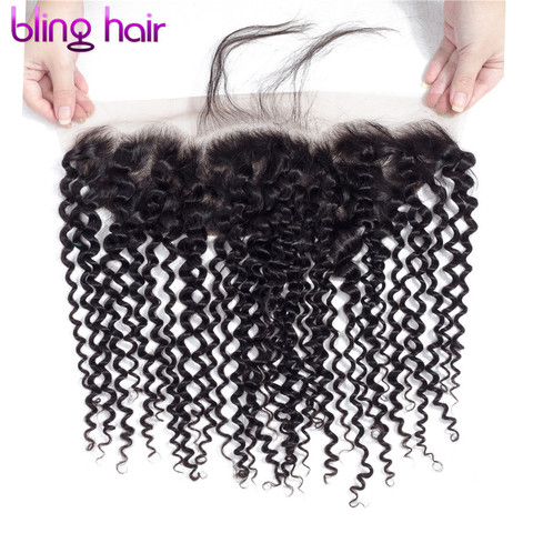 """Bling Hair Brazilian Kinky Curly Hair 13*4 Lace Frontal Closure With Baby Hair 100% Remy Human Hair Closure Natural Color 8""""-22"""" Lahore"""