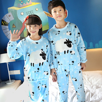 2016 New Arrival Flannel Pajamas Set Baby Girls Boys Warm Winter Thicken Cartoon Kids Pyjamas Children