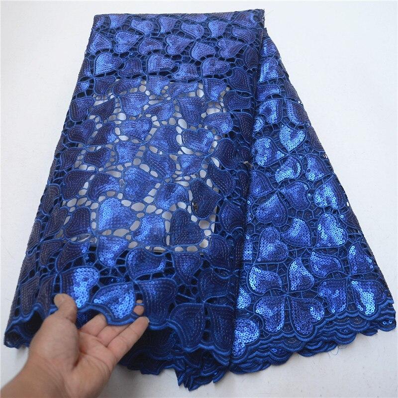 Superbe bleu Royal en forme de coeur Organza lacets tissu avec dentelle de paillettes haute qualité nigérian mariage dentelle tissu 5 mètres PSA313-2