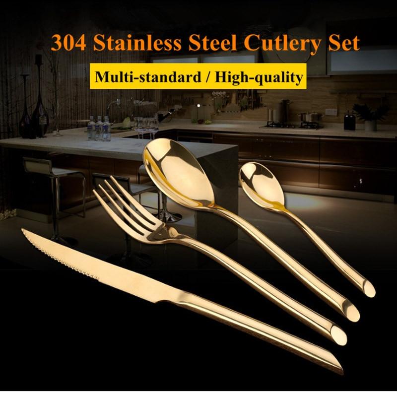 KTL 24 Pz / set Set di stoviglie nero Set da tavola in acciaio - Cucina, sala da pranzo e bar
