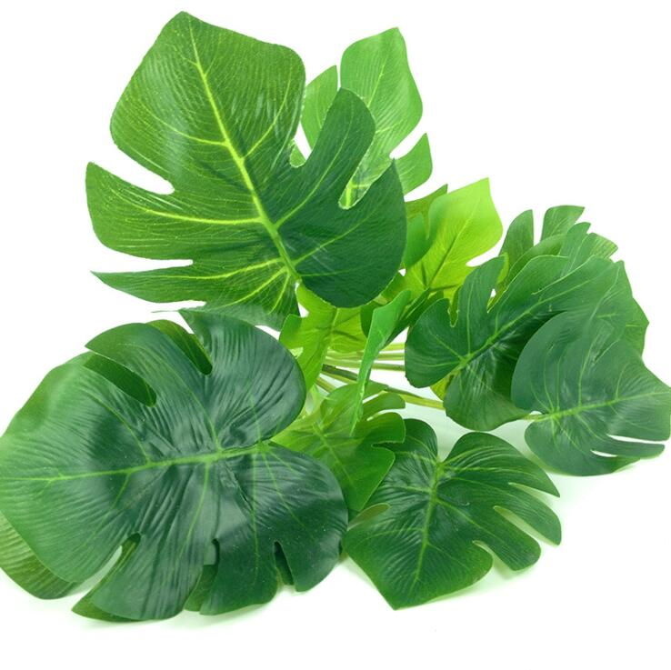 15heads artificial greenery monstera palm tree leaves leaf for Artificial leaves for decoration