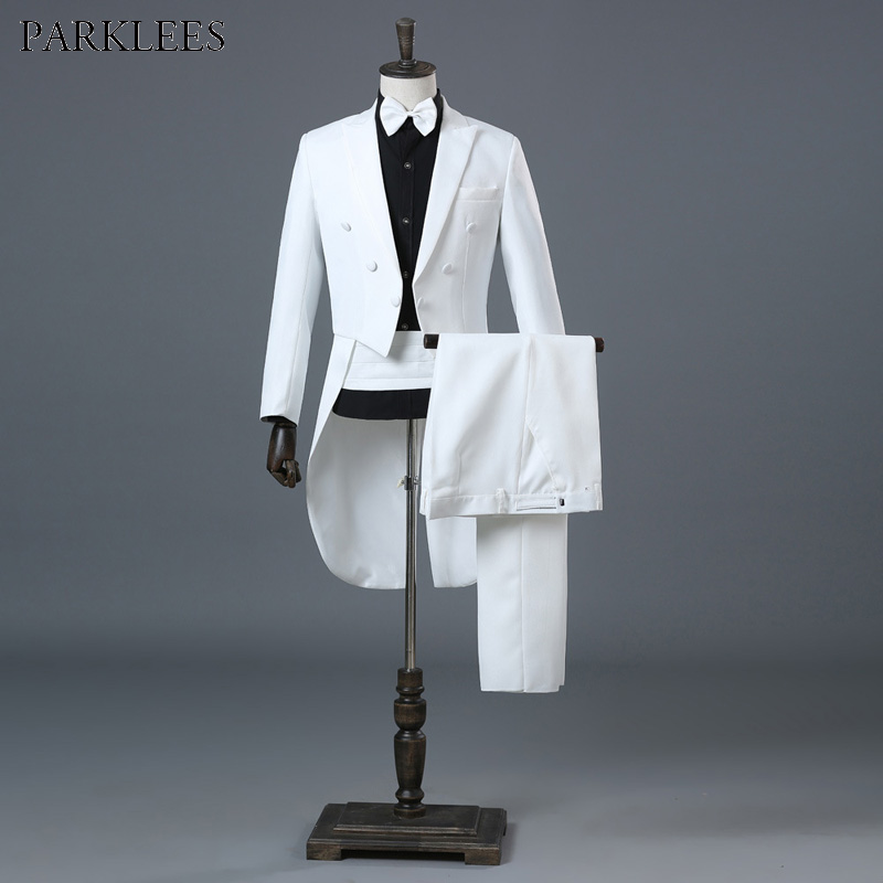 Populair Merk Witte Bruiloft Bruidegom Smoking Swallowtail Jas Mannen Slim Fit 4 Stuk Pak (jas + Broek + Blet + Tie) Party Podium Zanger Prom Kostuums