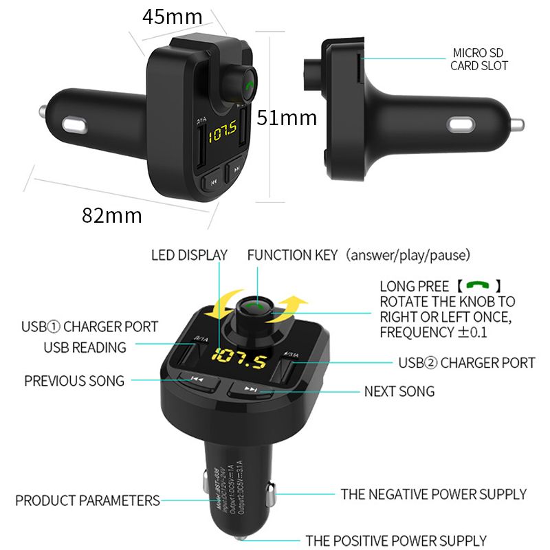 Image 4 - 12V Car MP3 Player Bluetooth USB Music FM Transmitter Handsfree LCD Cigarette Lighter MP3 Auto Charger Voltage Auto Accessories-in Cigarette Lighter from Automobiles & Motorcycles