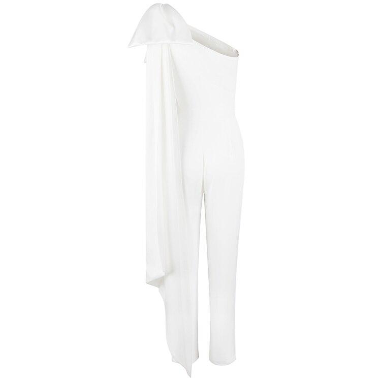 Party Barboteuses Femmes Arc Blanc Mode Celebrity 2018 Sexy Une Épaule Nouvelle Bandage Arrivée Salopette Combinaisons Moulante HPvqaH8Ww