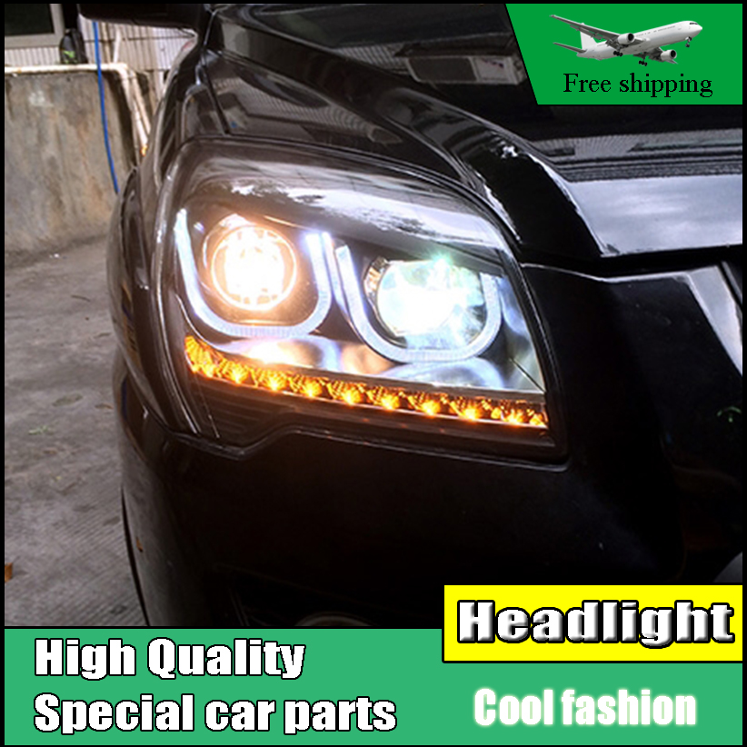 Car styling Head Lamp For KIA Sportage headlights 2007-2013 LED U angel eyes LED light bar DRL bi xenon lens h7 xenon Low Beam car styling for honda crv headlights u angel eyes drl 2012 for honda crv led light bar drl bi xenon lens h7 xenon