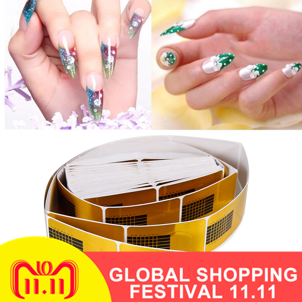 ELECOOL 100/50PCS Golden Nail Art French Tips Sculpting Acrylic UV Gel Tips Extending Nail Tools Extension Forms Guide DIY Kit-in Sets & Kits from Beauty & Health on Aliexpress.com   Alibaba Group