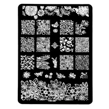 Hot Sale 1pc HK-Series Flower Butterfly Nail Art Image Stamp Stamping Plate DIY Polish Print Stencil Template Manicure Tools #08 hot sale sunflower butterfly stamp letter pattern pillowcase