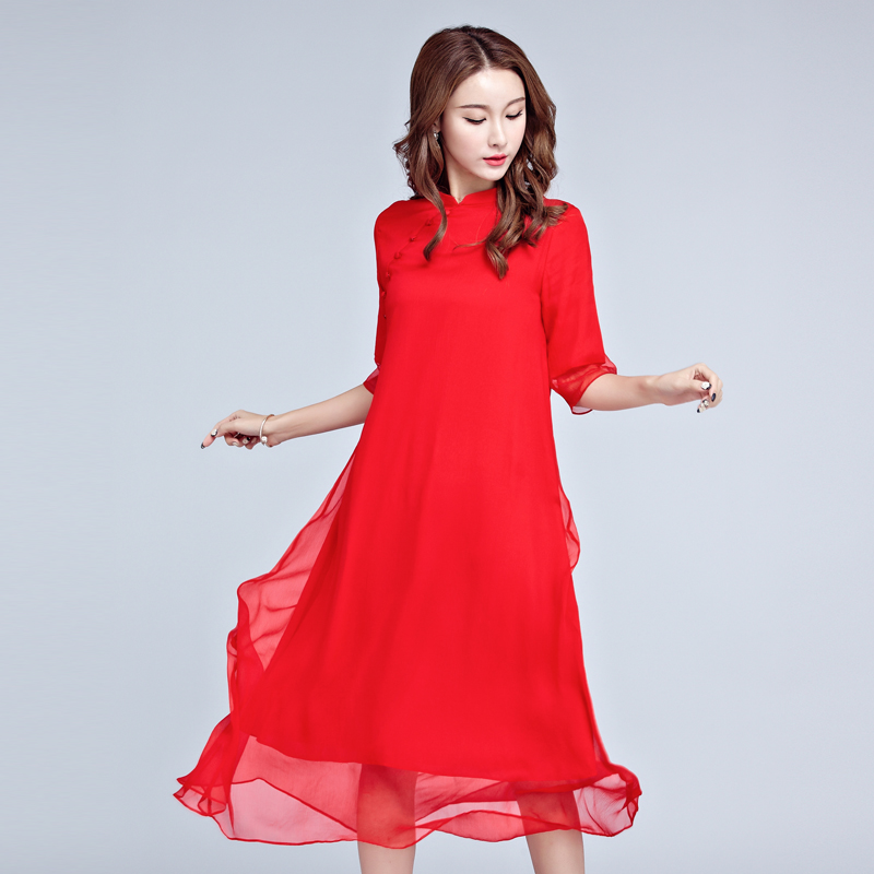 Buy Cheap 2017 Free Shipping China New Women Cheongsam Wind National Red Silk Dress Red Black Fashion Long Dresses