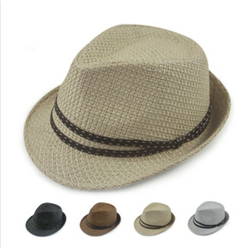 0769a23e859 Wholesale Designer Mens Solid Colors Paper Fedoras Hats Women Summer  Fedoras Caps Men Fashion Sun Straw Cap Womens Straw Hat